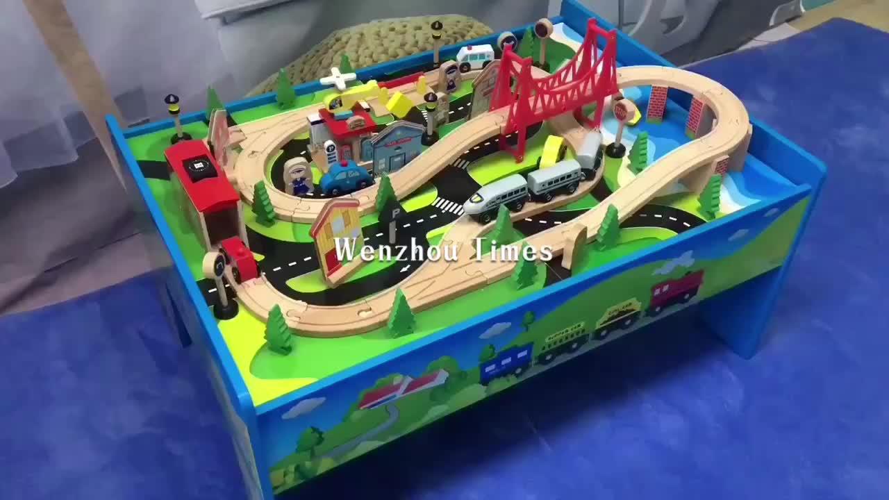 Высокое качество 100 шт. деревянный детский стол с Поезд W04C083