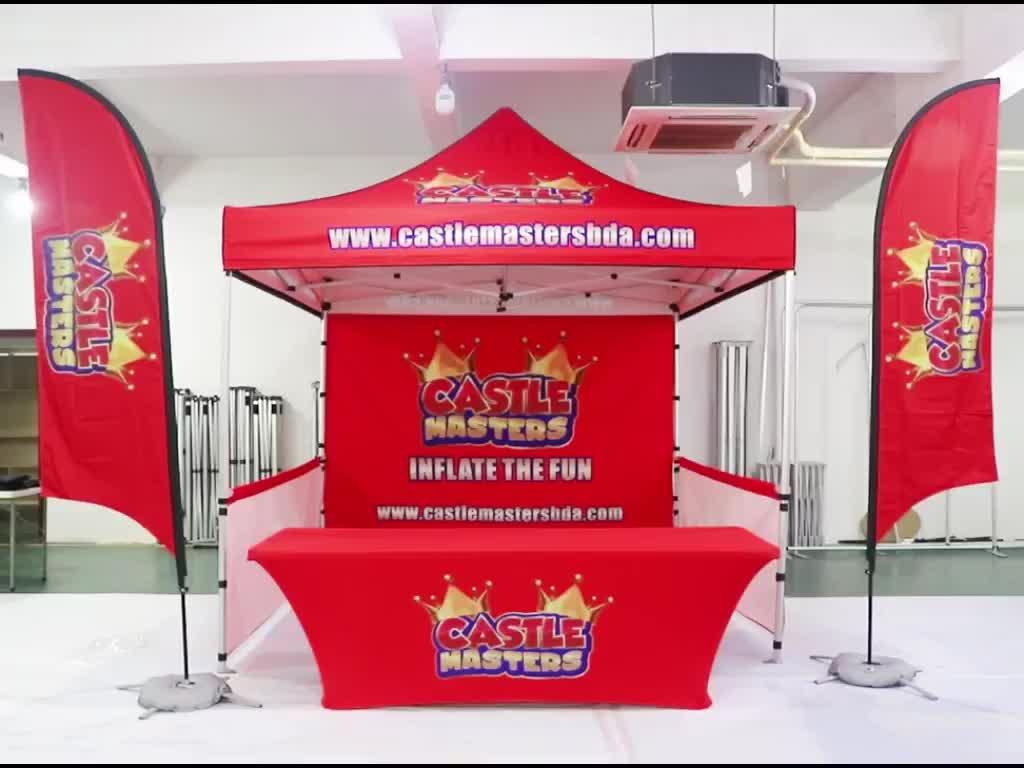 Custom Printed Steel frame Folding Trade Show 10x10 pagoda tent
