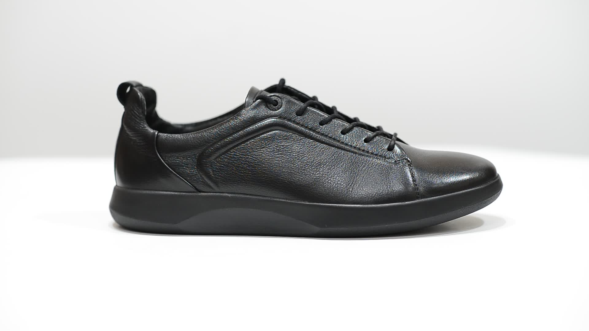 Men's black leather sneakers - V366chp