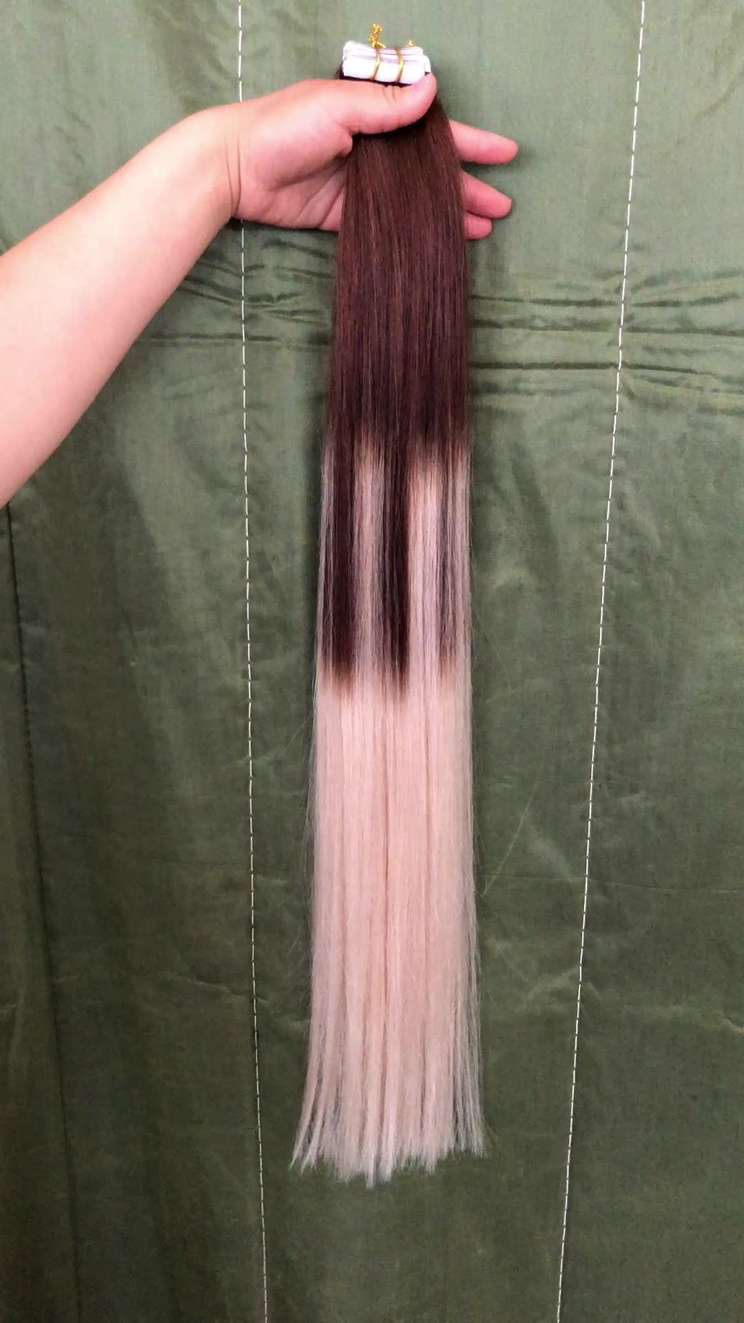 European remy ombre balayage tape in human hair extensions