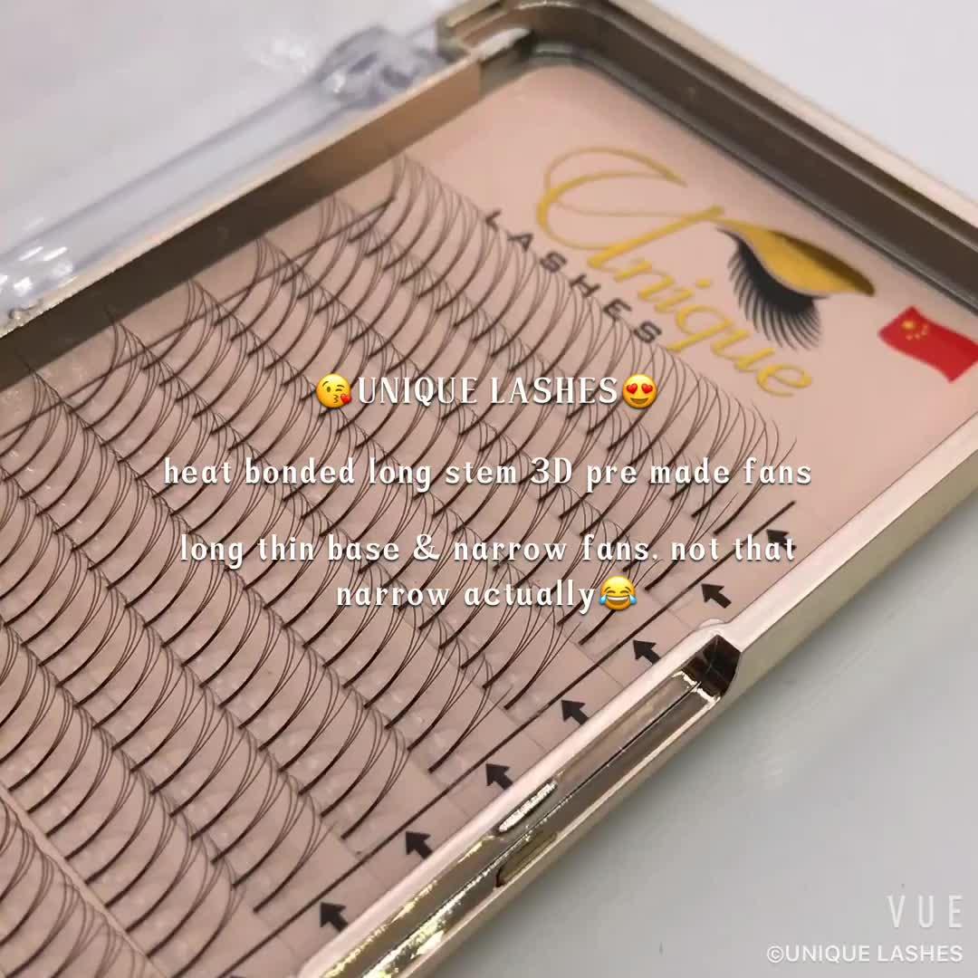Private Label Pre gemaakt Volume fans 3d/5d Wortelloze Breed fans Wimpers Premade fans Faux Mink lash extension supplies