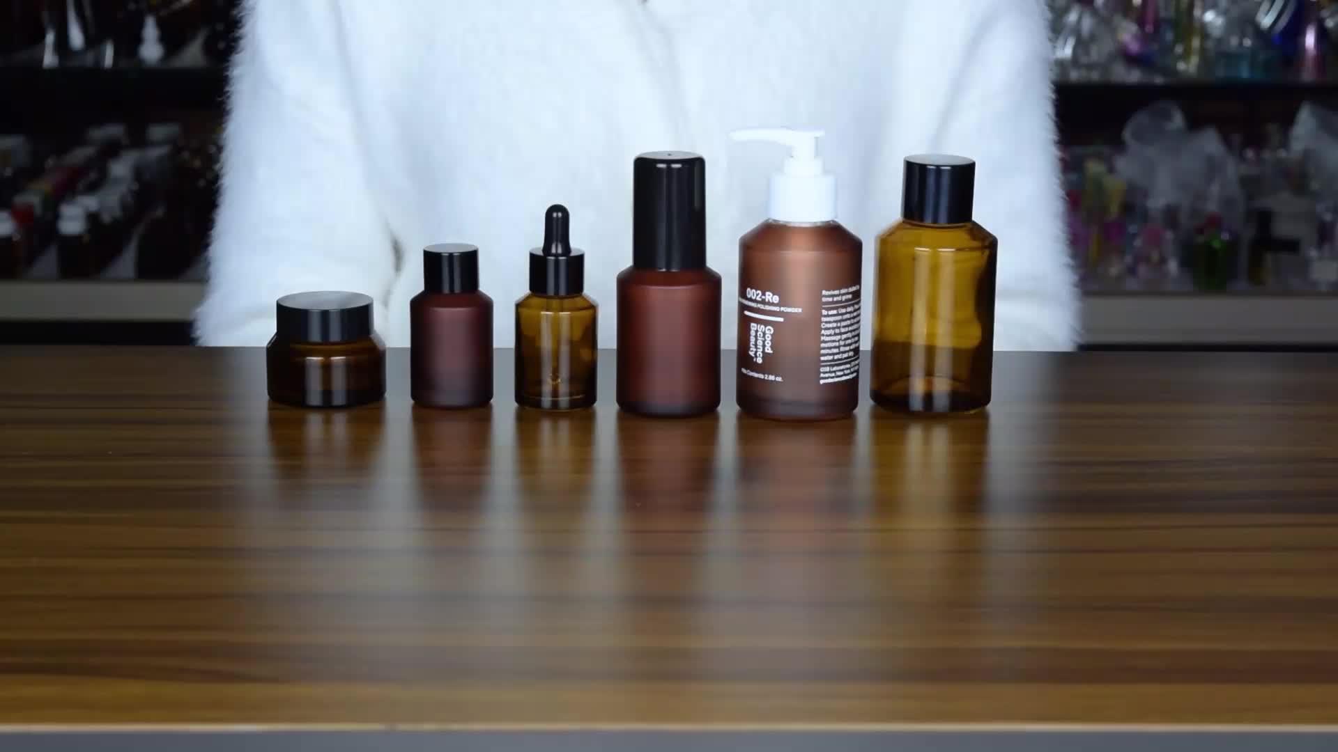 Forma rotonda cura della pelle cosmetici imballaggio 30g 50g di colore ambrato di vetro vasi cosmetici e bottiglie
