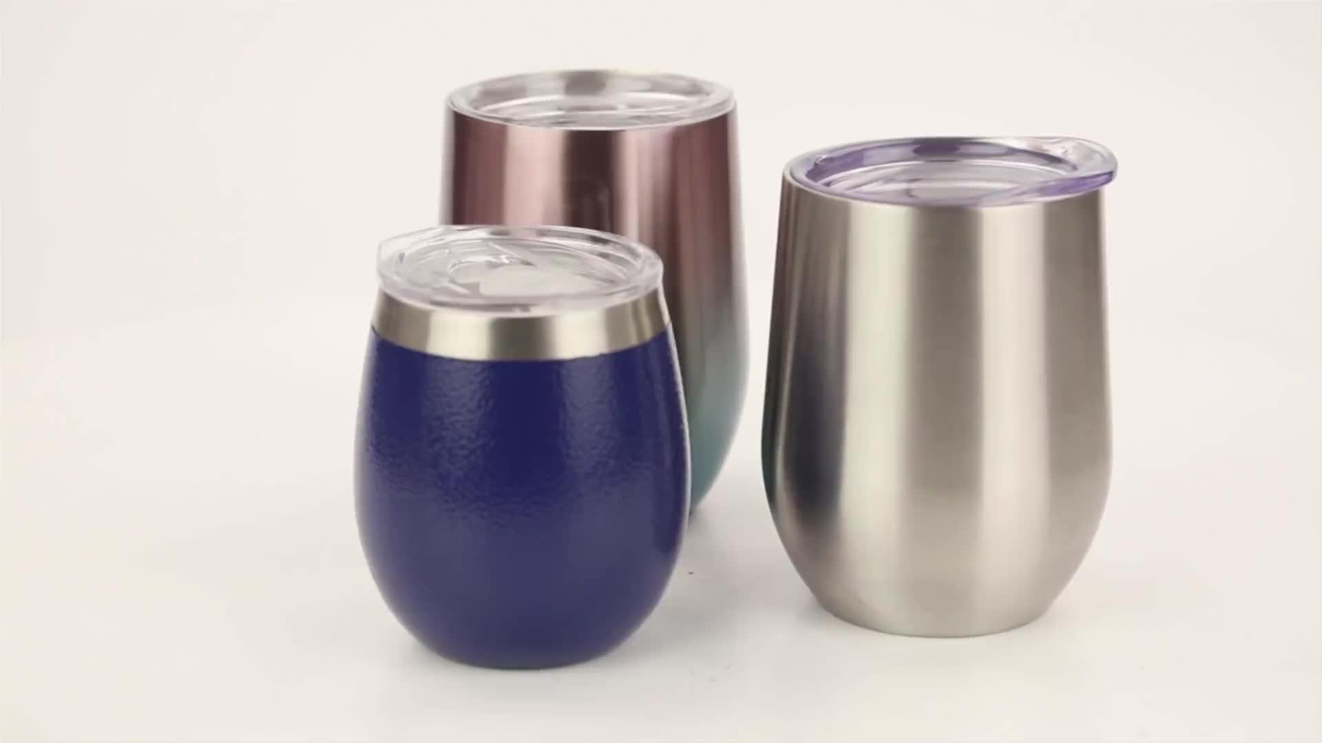 WeVi 12oz çift duvar vakum yalıtımlı özelleştirilmiş Sippy termos paslanmaz çelik kullanımlık kahve kapaklı kupa şarap için