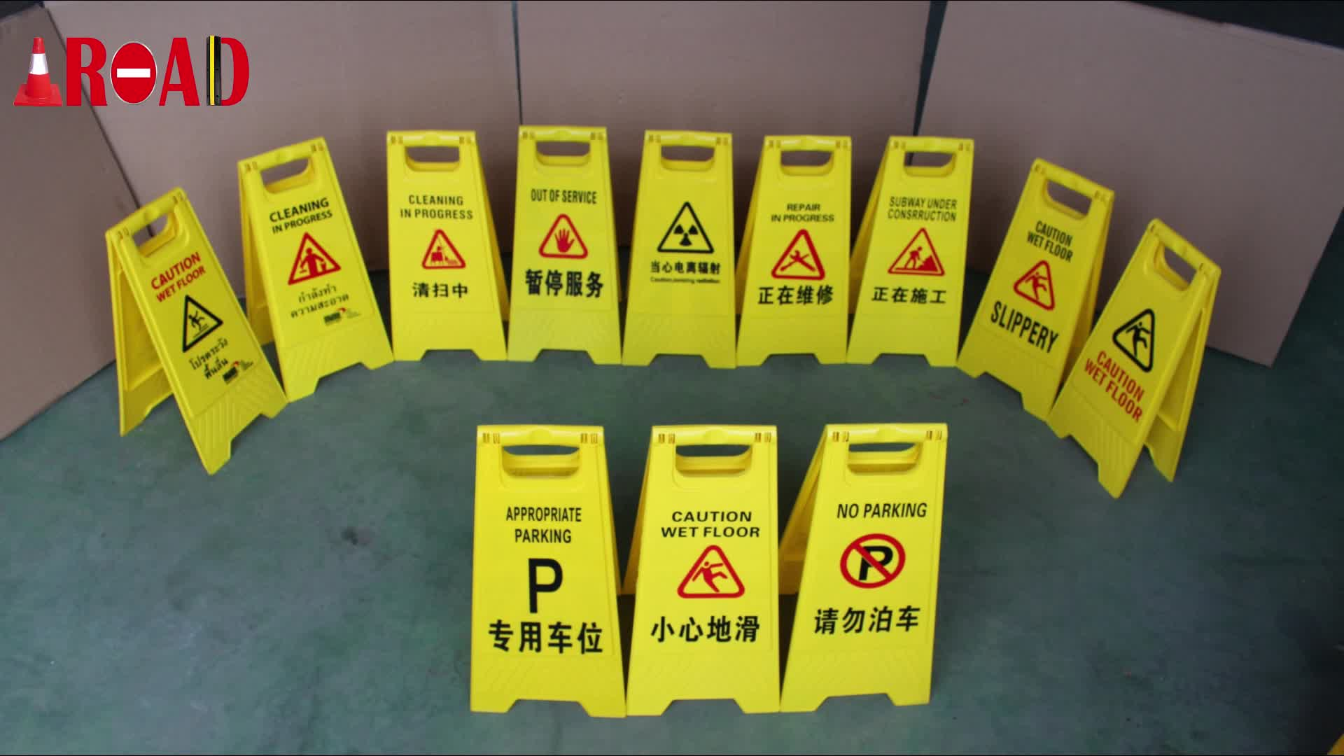 Plastic A Shape Traffic Warning Sign Roadway Safety Sign Board