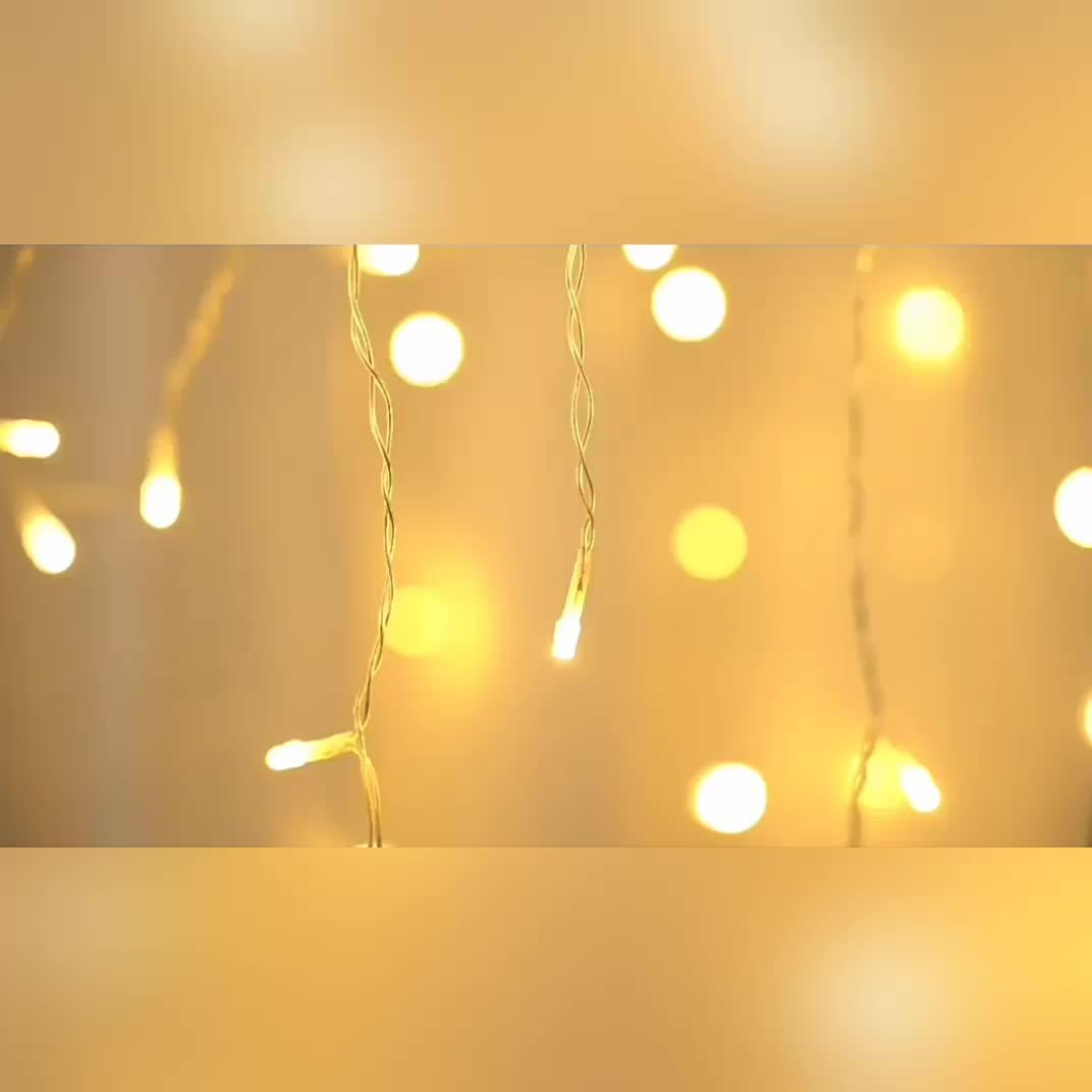 クリスマスウォーターフォールストリングライトは結婚式のためのクリスタルトゥインクルフェアリーカーテンライトを導きました