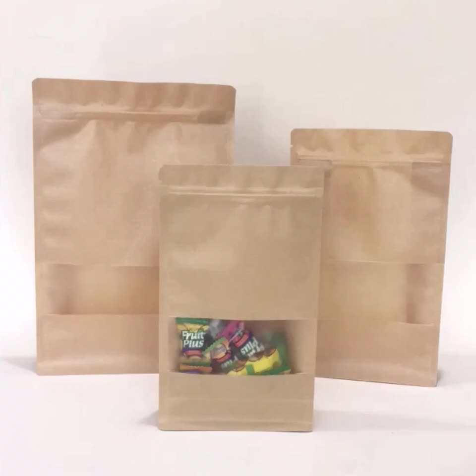 eight side seal zipper khaki paper bag with window