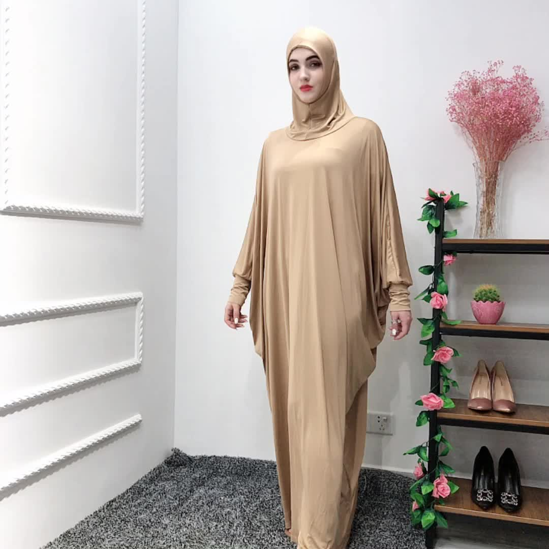 Newest 65%cotton 35% polyester material champarne Muslim pray  abaya with fashion sleeves