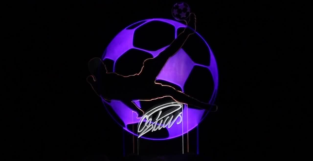 Summer Of Soccer Decorative Desk Lamp Football Player Play Football 3D Line Lamp LED Night Light