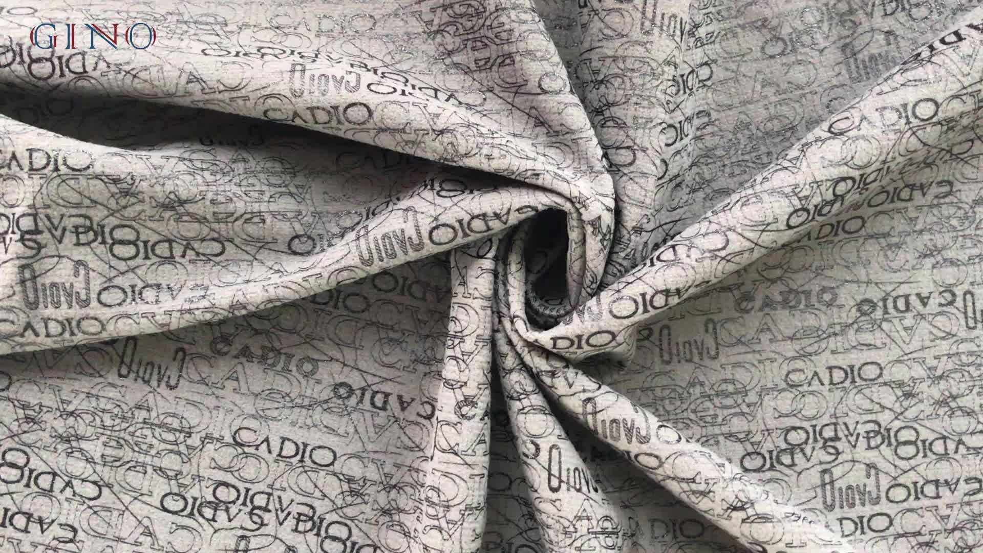 Tricot Jacquard शब्दों मुद्रित Velour मखमल कपड़े के लिए कार