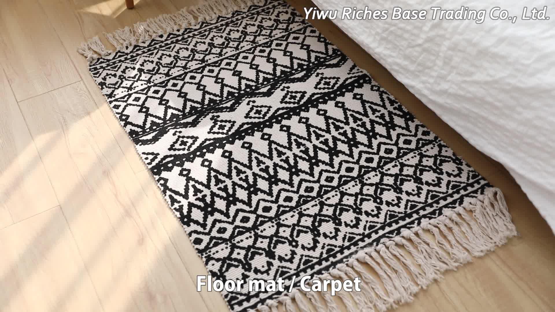 Скандинавский дизайн, хлопковый тканый ковер на заказ для гостиной, шелковый ковер с принтом, ковер с кисточками