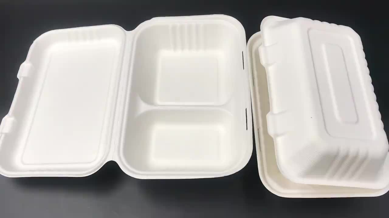 Customized disposable packaging box sugarcane bagasse take out clamshell food box compostable biodegradable