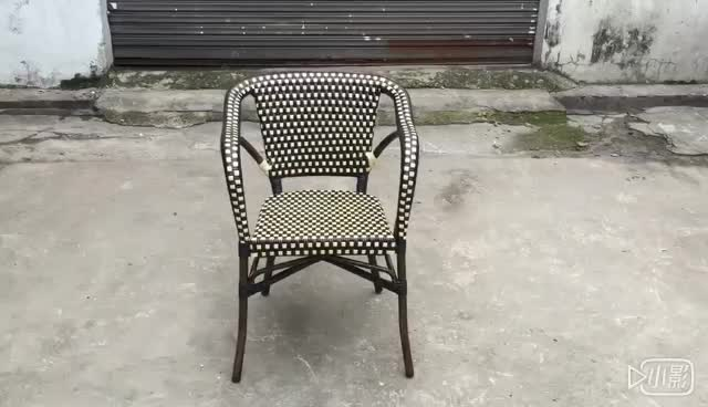 All weather french dining arm chair Design armchair Plastic brown