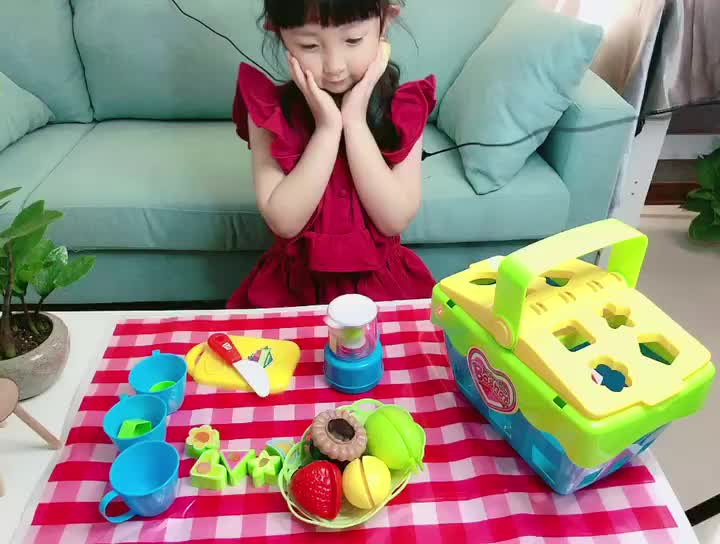 Children Pretend Play Toy Battery Operated Delicious Picnic Basket Fruit Juice Set Toys