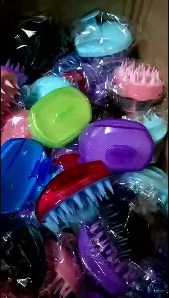Cuero cabelludo masajeador champú cepillo de silicona suave cuero cabelludo cepillo