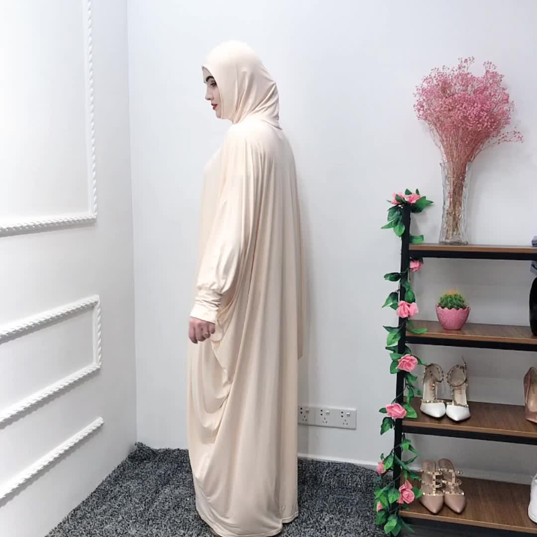 Newest 65%cotton 35% polyester material beige Muslim pray  abaya with fashion sleeves