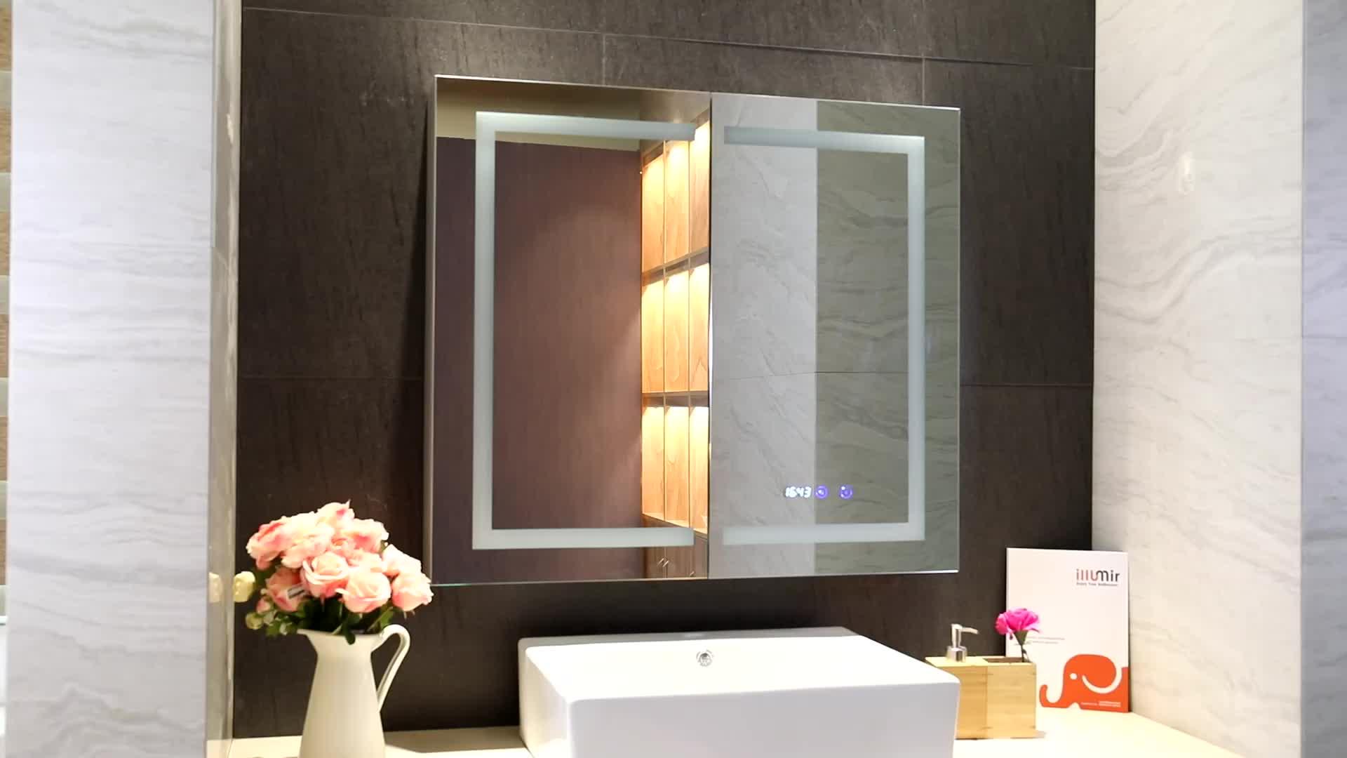Foshan ETERNE Modern Wall Mounted Illuminated Lighted LED Mirrored Medicine Cabinet in Bathroom