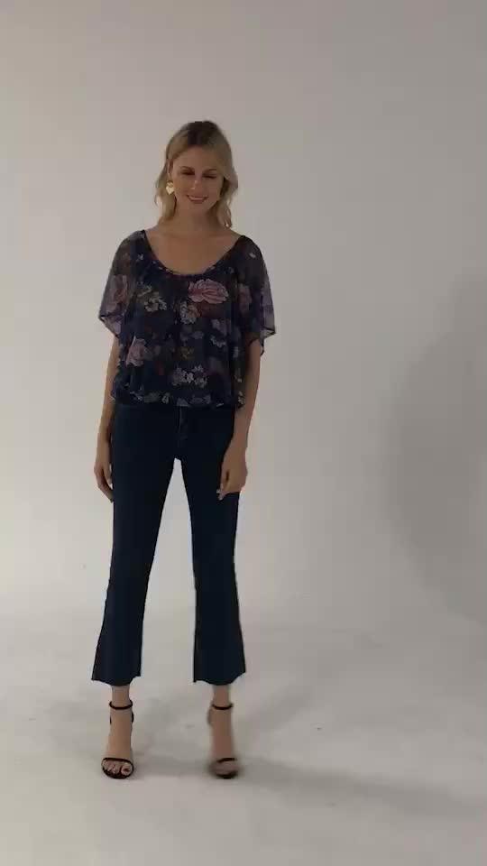 Plus size ladies printing floral shirt rayon women mesh blouse