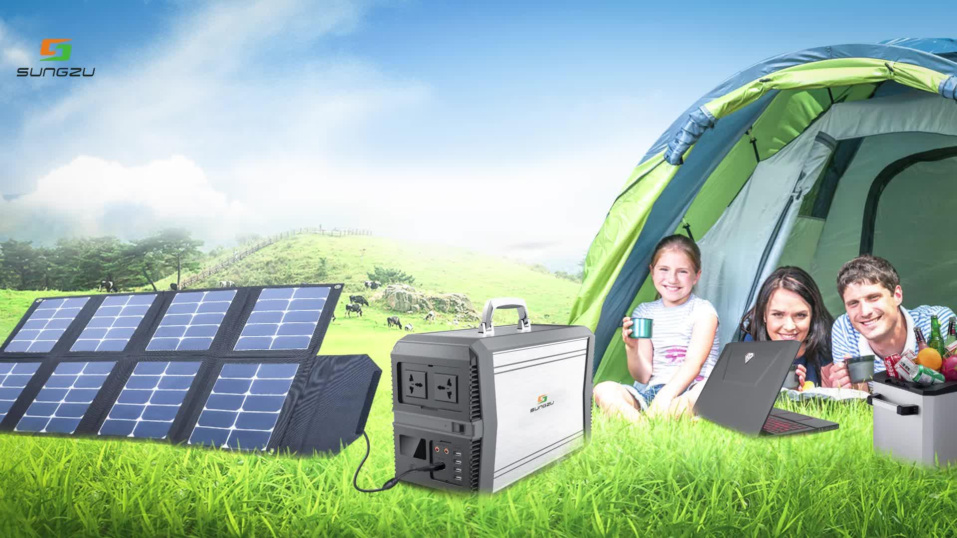 Sungzu पोर्टेबल सौर जनरेटर 1KW बंद ग्रिड घर सौर ऊर्जा प्रणाली Batterie पावर बैंक स्टेशन 220v