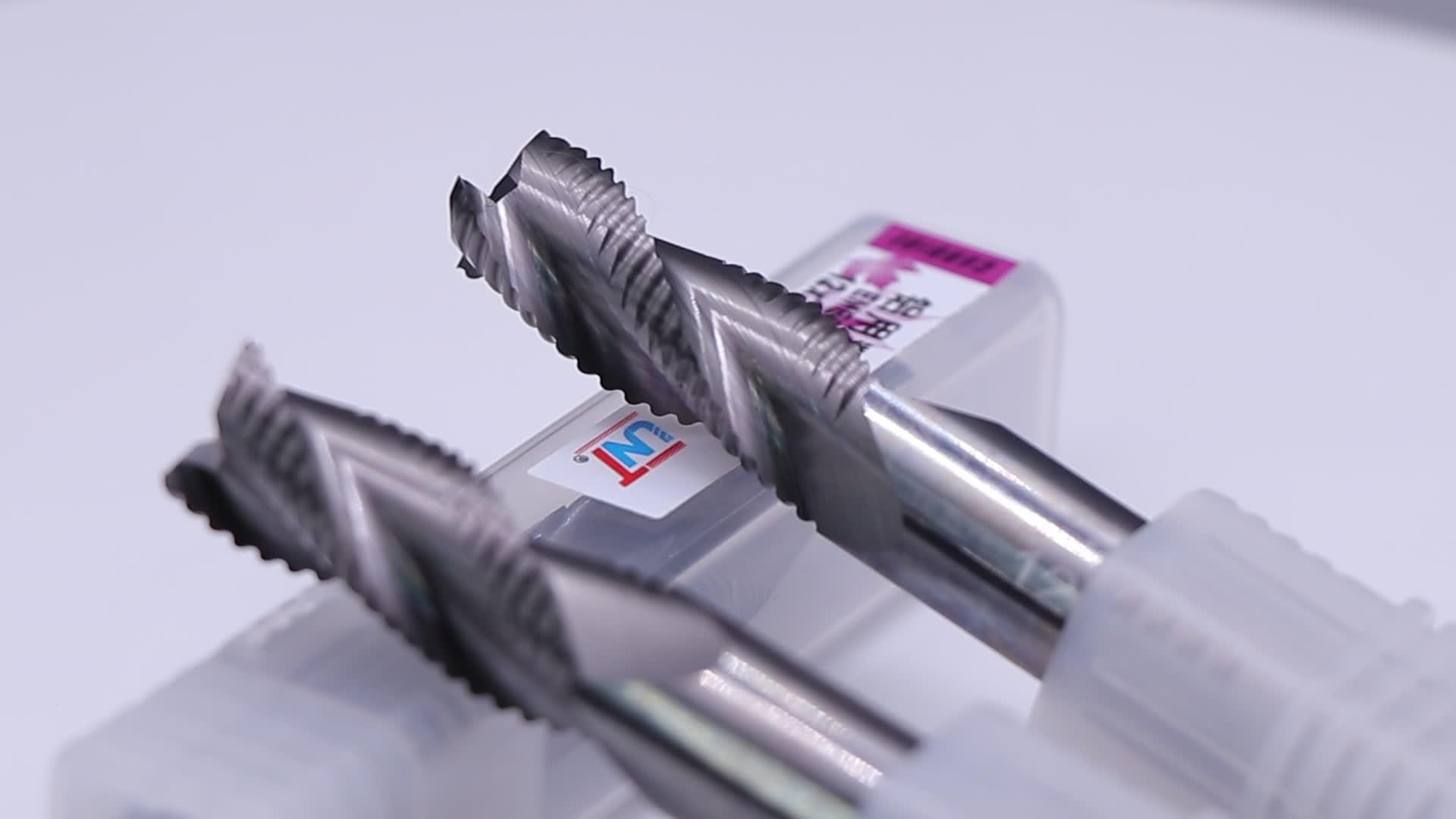 UNT tungsten carbide 3 flutes aluminium milling tool uncoating , D5*L16*D6*50L*3F
