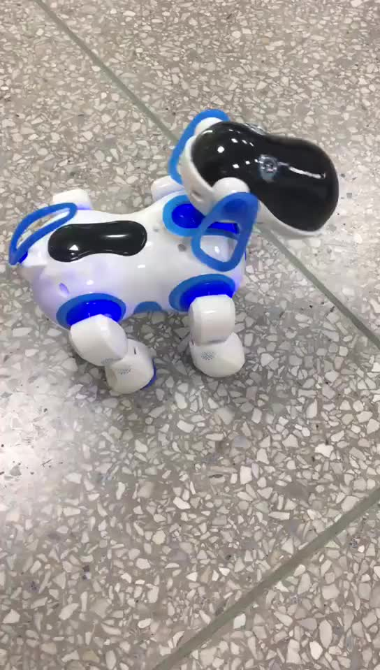 intelligent mini cute rc smart walking robot dog toy with light for kids