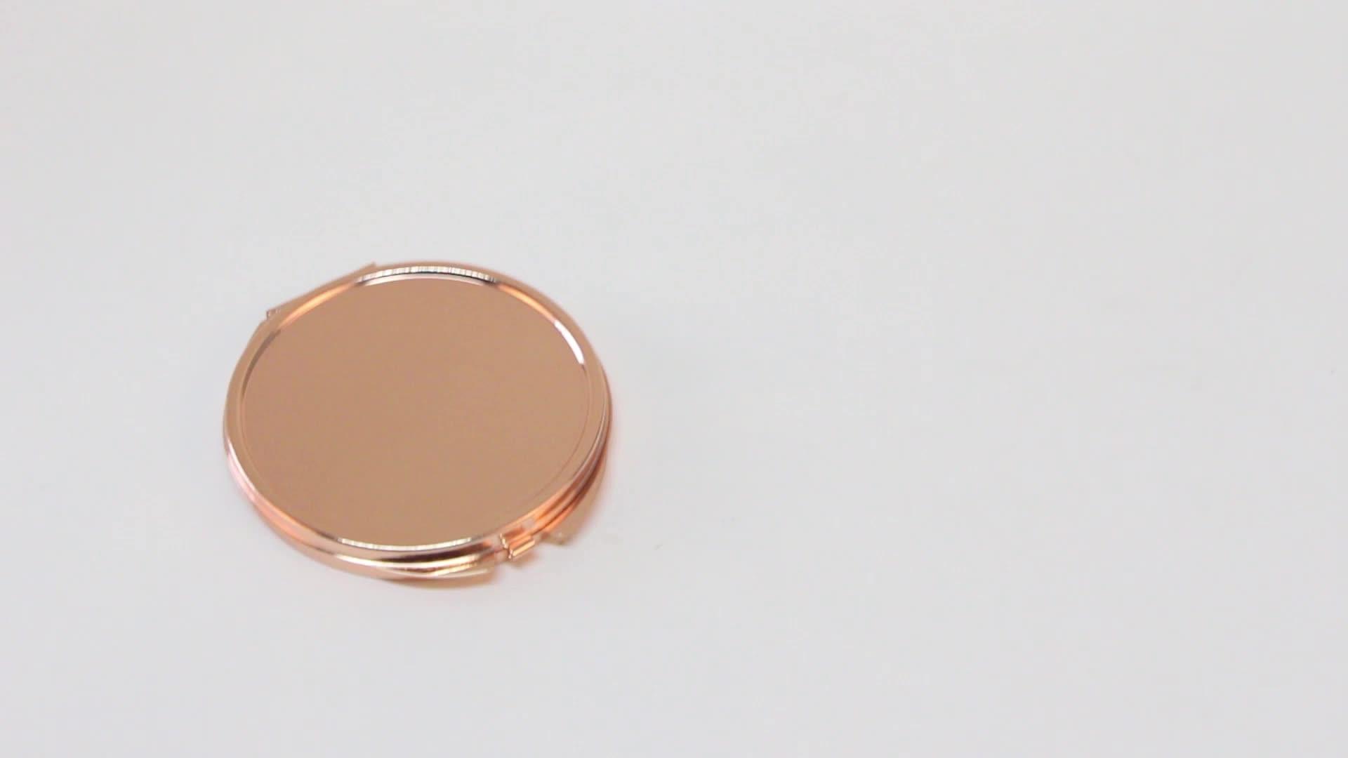 Redonda de Metal Portátil Dobrável Cosméticos Subiu Espelho de Ouro