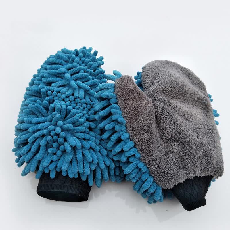 2 en 1 de chenilla de microfibra coche manopla de lana de Coral coche guante de limpieza Anti-arañazos guante Exterior Interior del coche lavar el guante