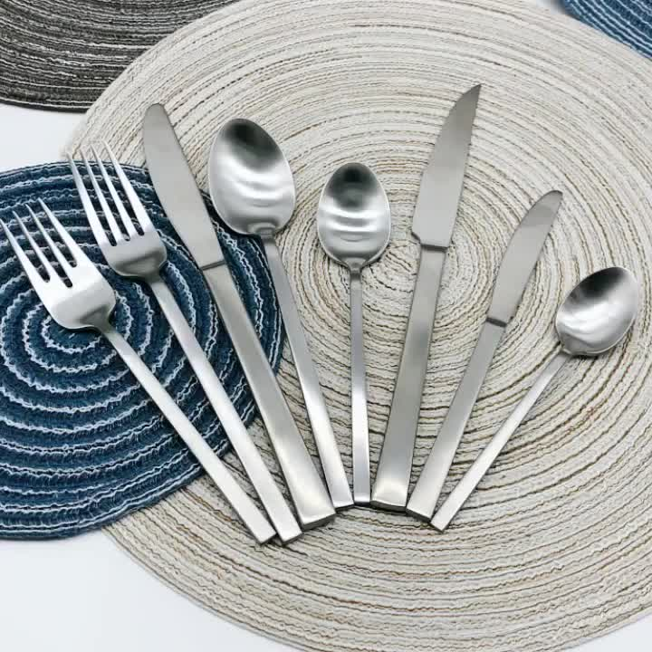 72 pcs Royal Hammered Stainless Steel Inox Silver Restaurant Cutlery Flatware Set For Hotel