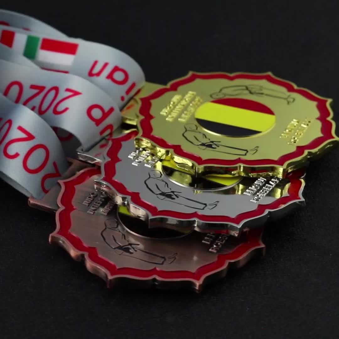 Jiabo oro argento e bronzo in metallo in lega di zinco Belgio Judo medaglia medaglie su ordinazione