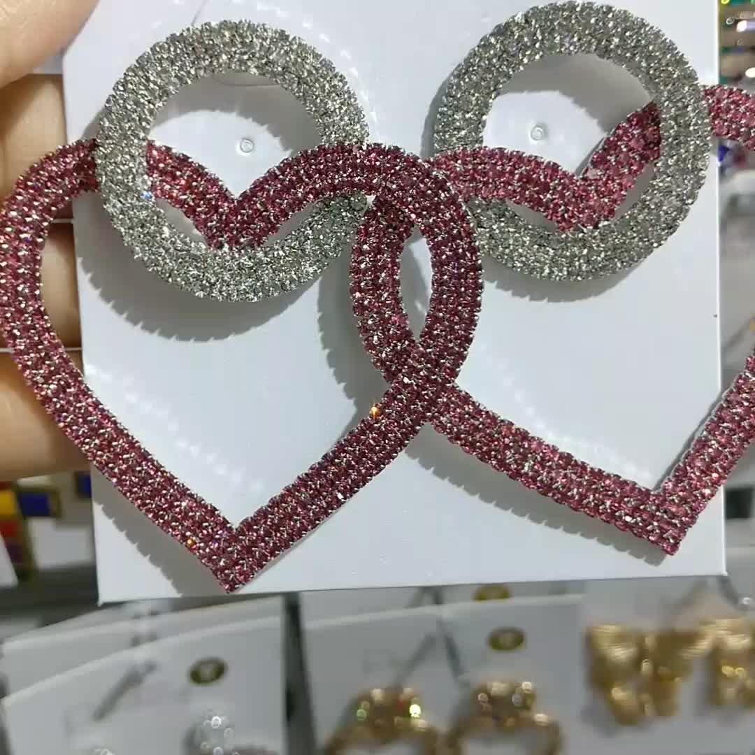 2019 Korea Sweet Girl Pink Love Circle Rhinestone Earrings Fashion Diamond Geometric Heart Dangle Earrings