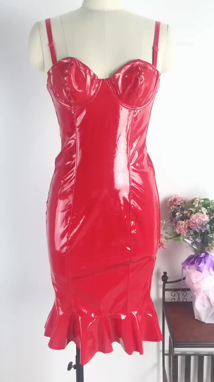 Knee Length 4XL 5XL Off Shoulder Sweetheart Synthetic Leather Women Club Dress 2019