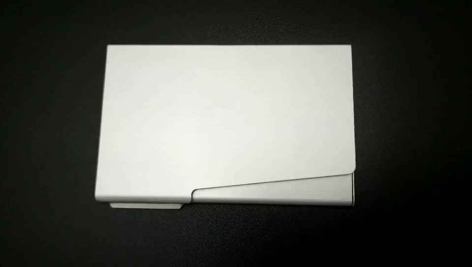Wholesale Business Aluminum Metal Name Card Holder Popular Silver White Name Card Holder With Custom Logo