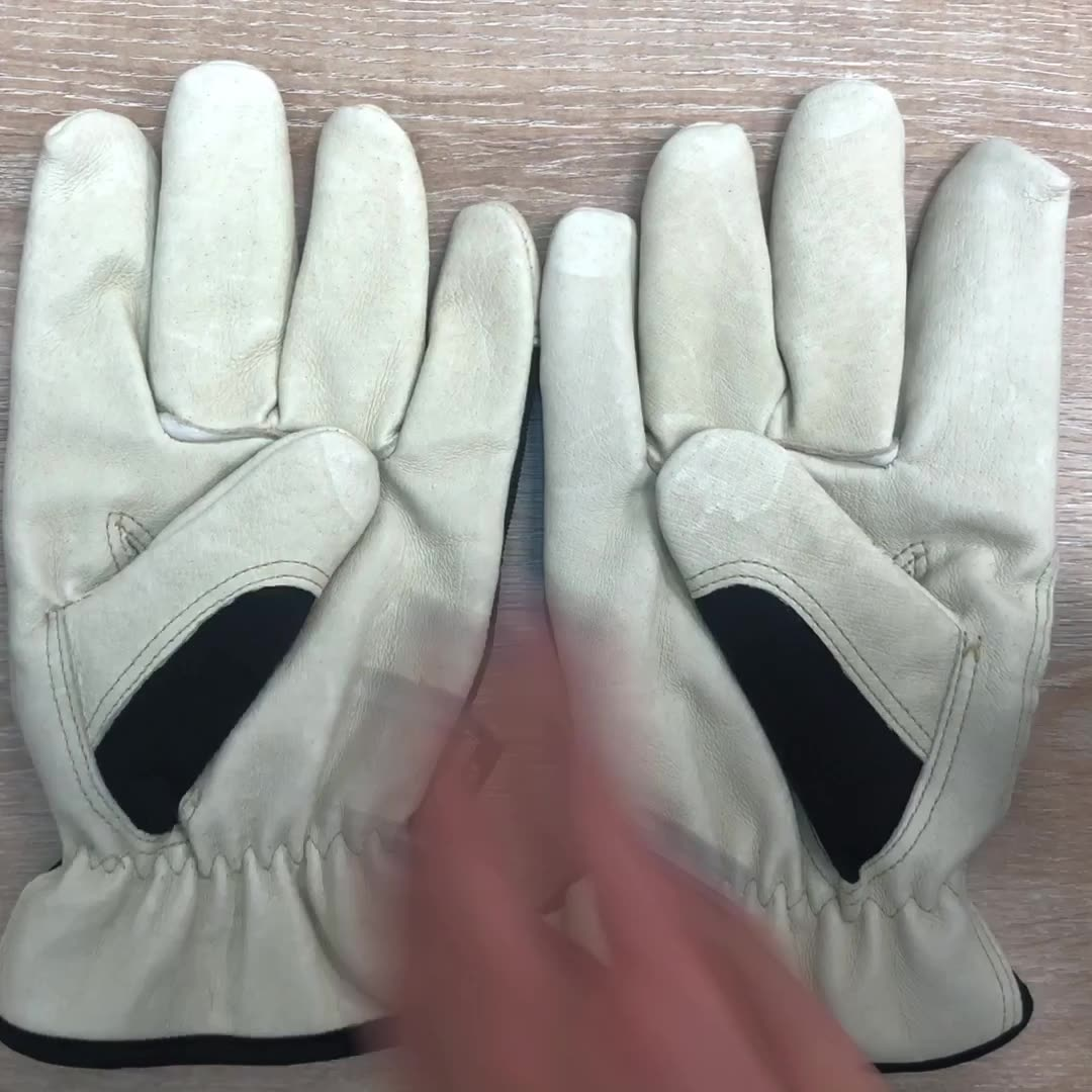 Flexible comfortable hand protection driving labor leather working safety gloves