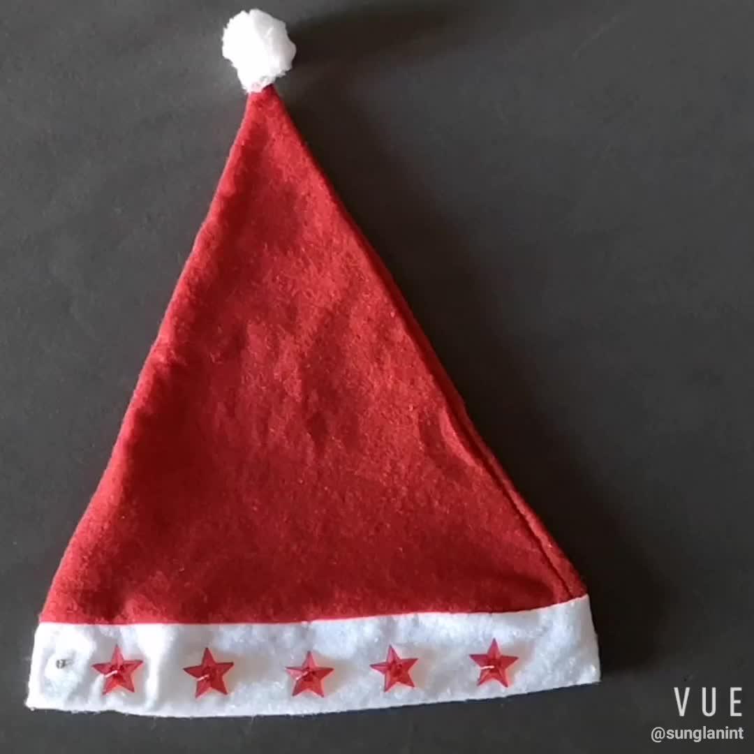 Non woven LED flashing Santa christmas hat