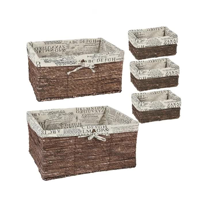 5 piece Nesting Baskets Wicker Basket - 5 Pack Storage Baskets for Shelves with Woven Liner
