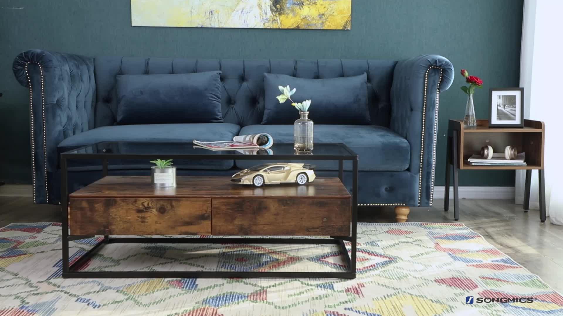 VASAGLE muebles de sala de madera industrial de metal Marco de hierro decoración centro de mesa de té de vidrio mesa de café con 2 cajones