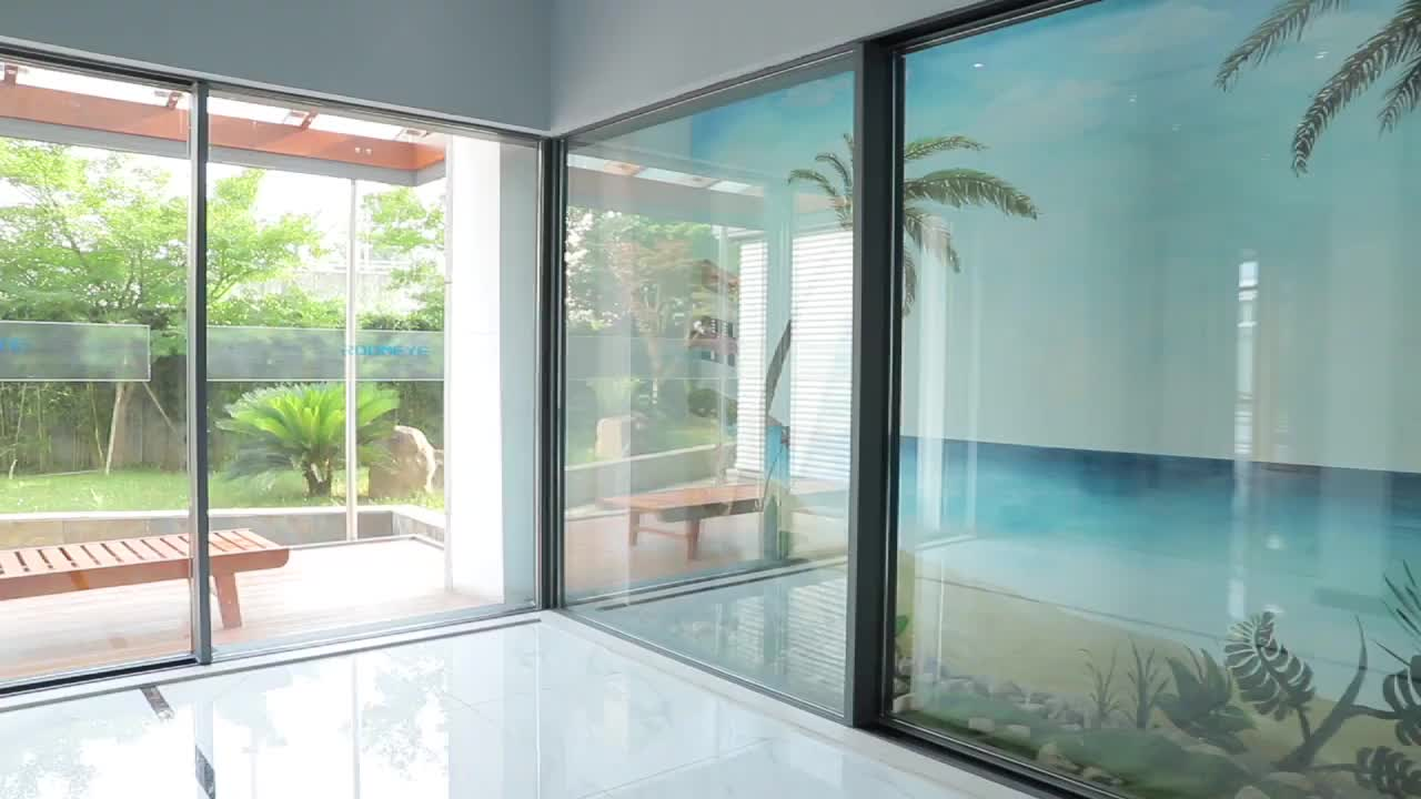 Slim frame aluminum sliding patio door