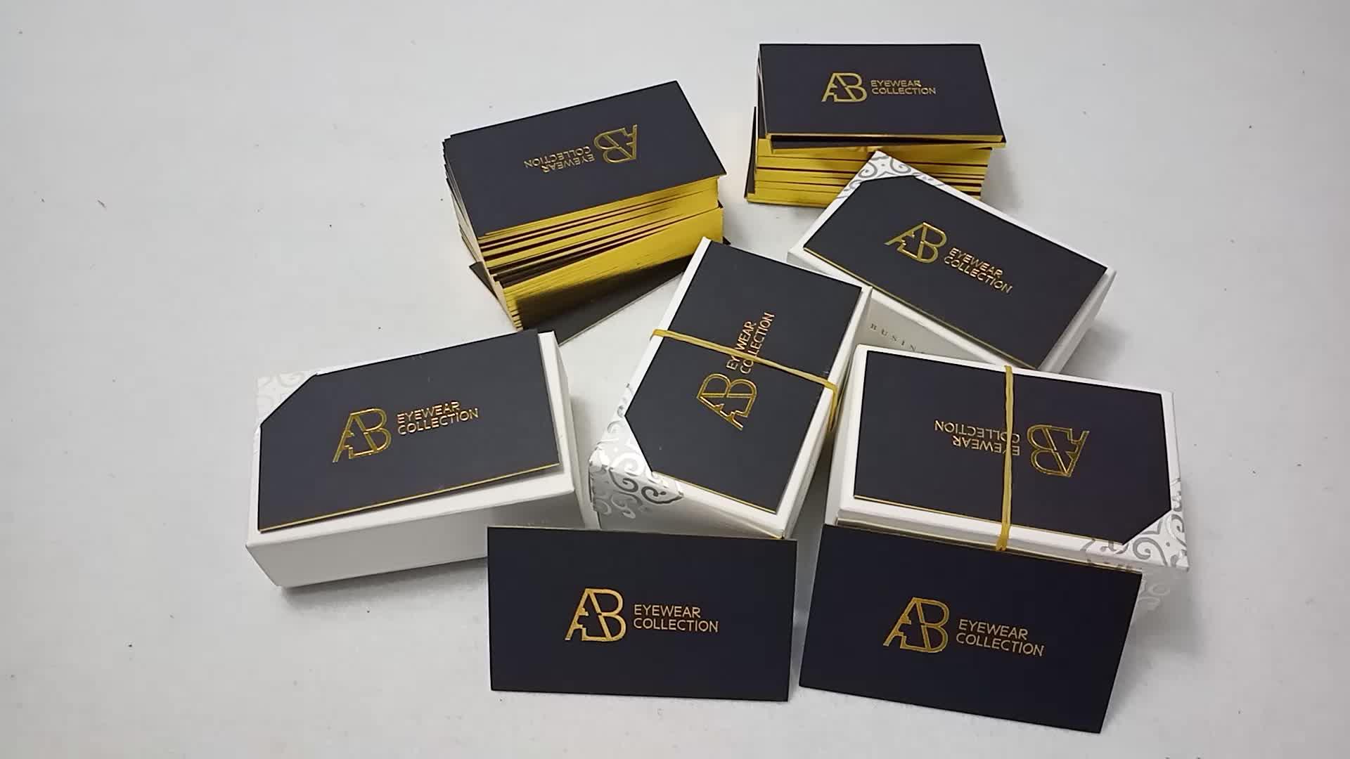 Custom design Luxo Borda de ouro hot stamping impressão do logotipo do cartão de visita de negócios