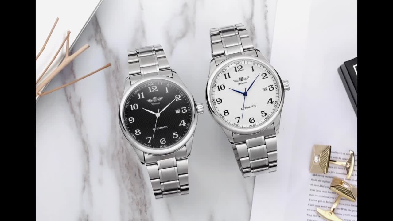 2019 New Style T-winner High Quality Skeleton Stainless Steel Watches Men handmade Automatic Wristwatch