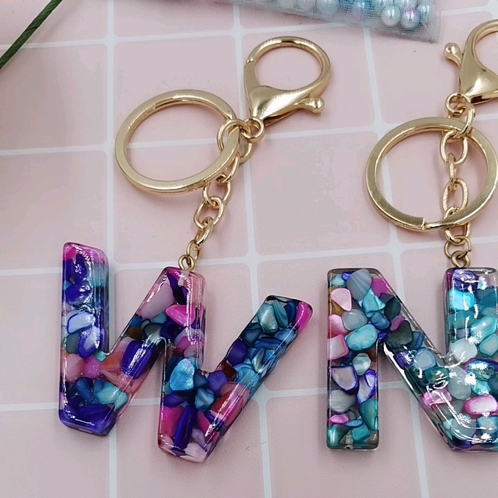 wholesale english alphabet girly charms glitter letters keychain resin big pendant