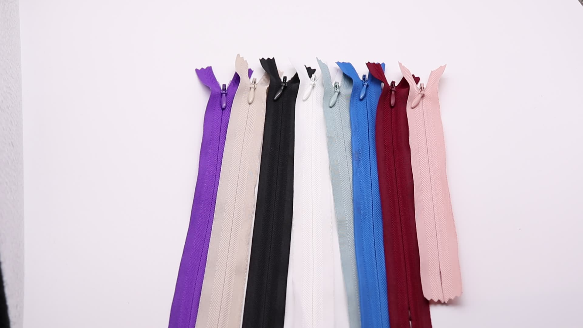 invisible zipper dress High Quality reverse nylon zipper 3# Invisible nylon Zipper for dresses and hometextile