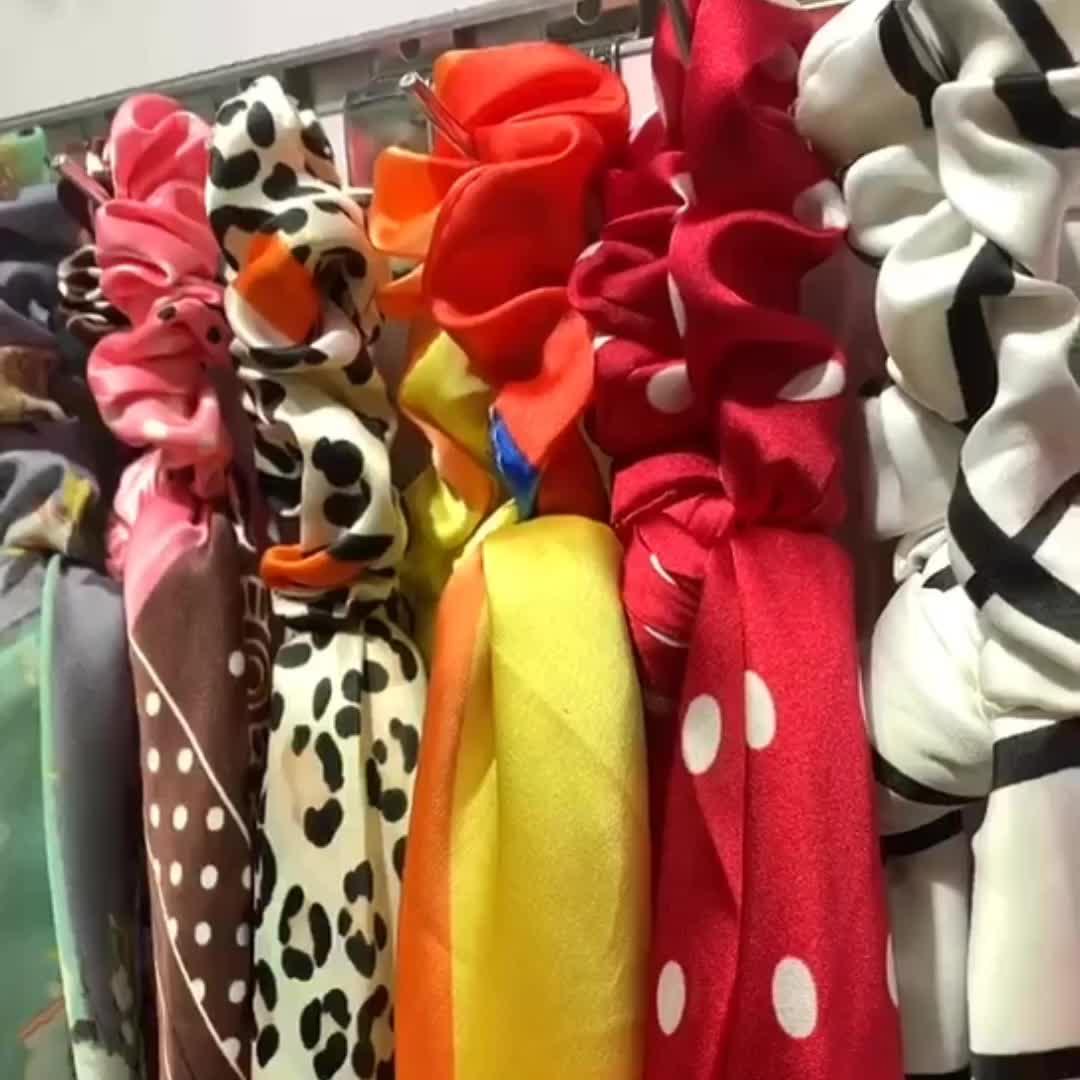 Fashion Blooming Floral Hair Scrunchies Scarf women Ponytail Holder Head Scarf hair tie