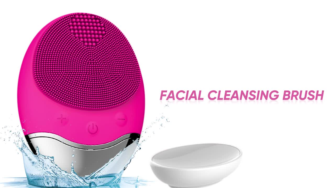 Logo Branded Facial Cleansing Brush Electric Silicone Face Brush