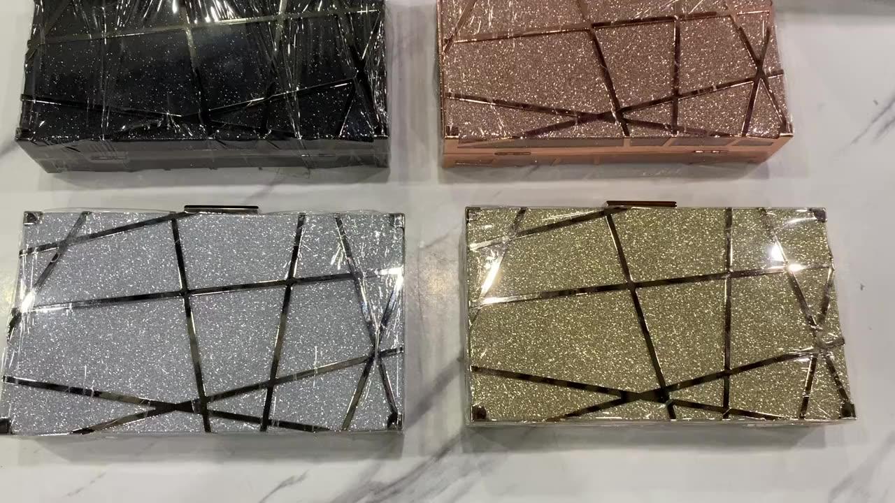기하학적 금속 프레임 반짝이 파티 웨딩 체인 골드 클러치 이브닝 가방 도매