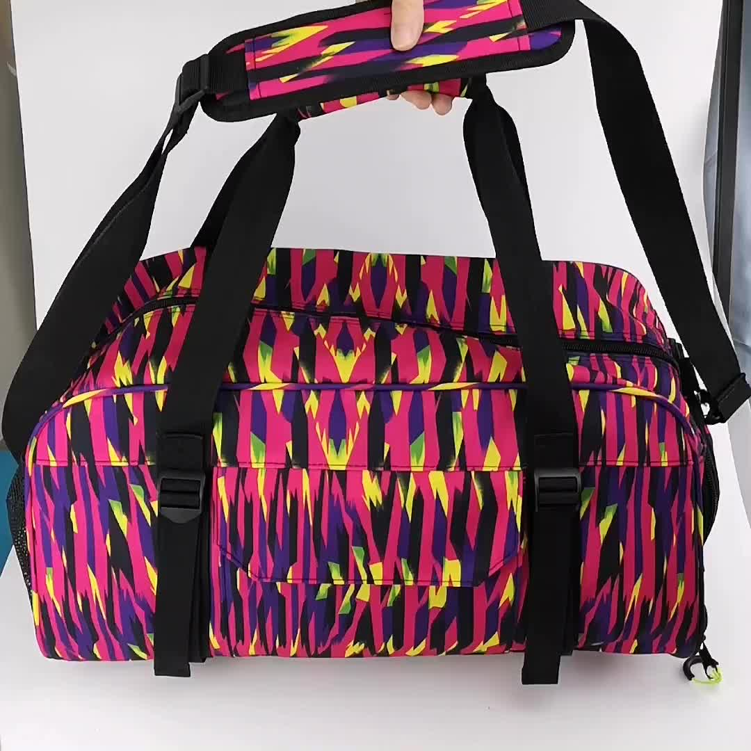 Custom large capacity mens duffle sport gym bag with shoe compartment
