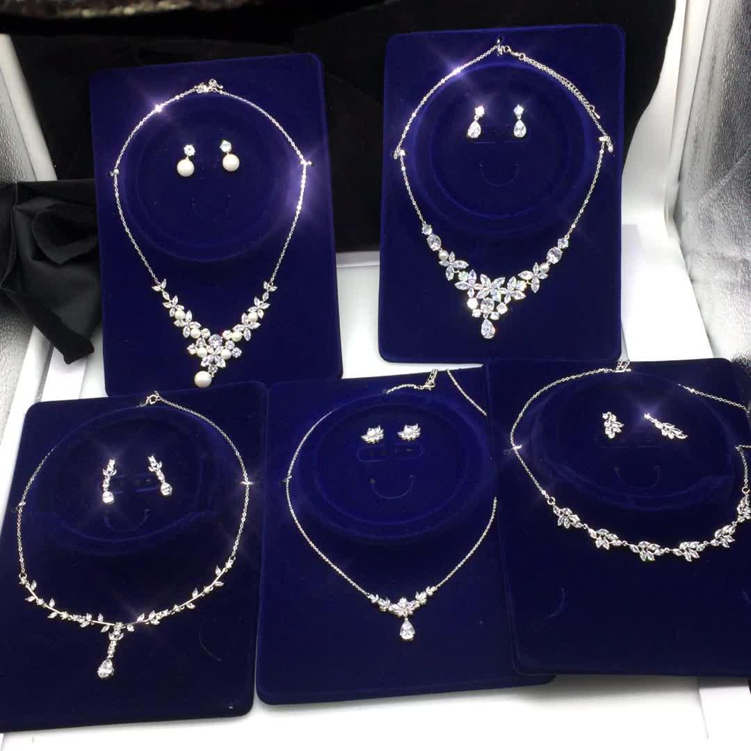 Shiny 지르콘 Pearl Necklace Set Wedding Dress 액세서리 Women Prom Jewelry Set