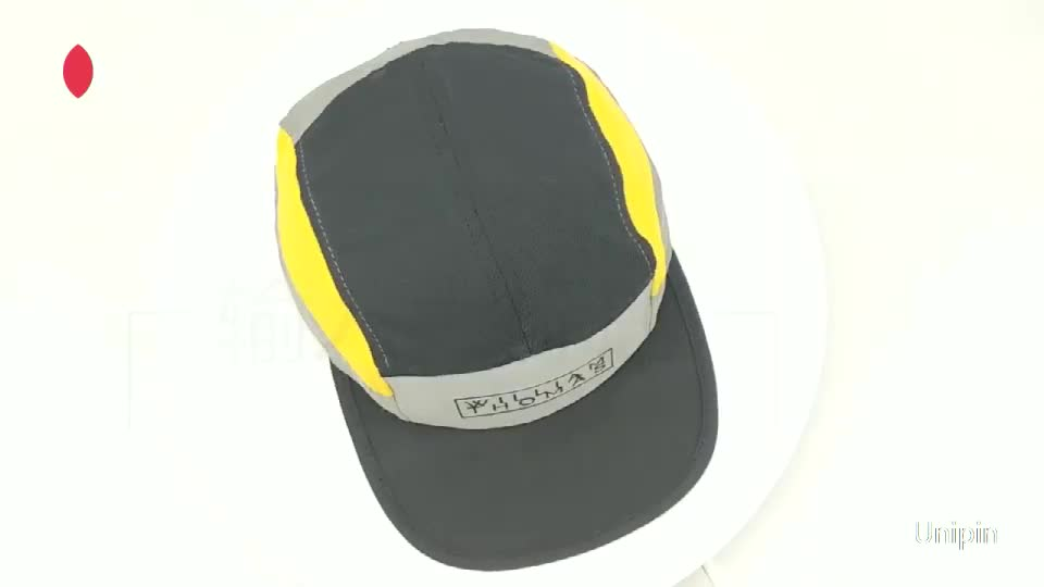 Custom blank polyester  breathable  quick dry fit Sports Running cap Splice flat snapback hat with mesh