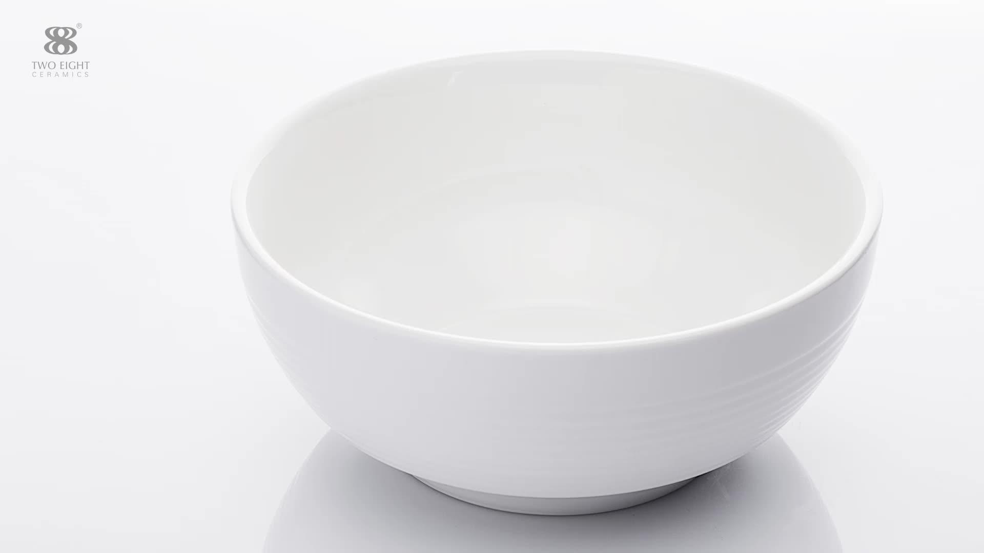 2019 Hotel Restaurant White Ceramic Fruit Bowl, Hotel Quality Custom Logo Porcelain Ceramic Salad Bowl