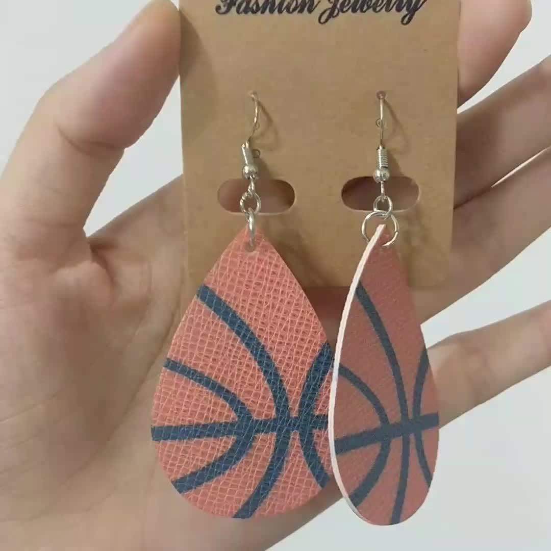 2019 New Women Tear Drop PU Leather Earring Basketball Baseball American Football Earrings Fashion Ball Drop Earrings