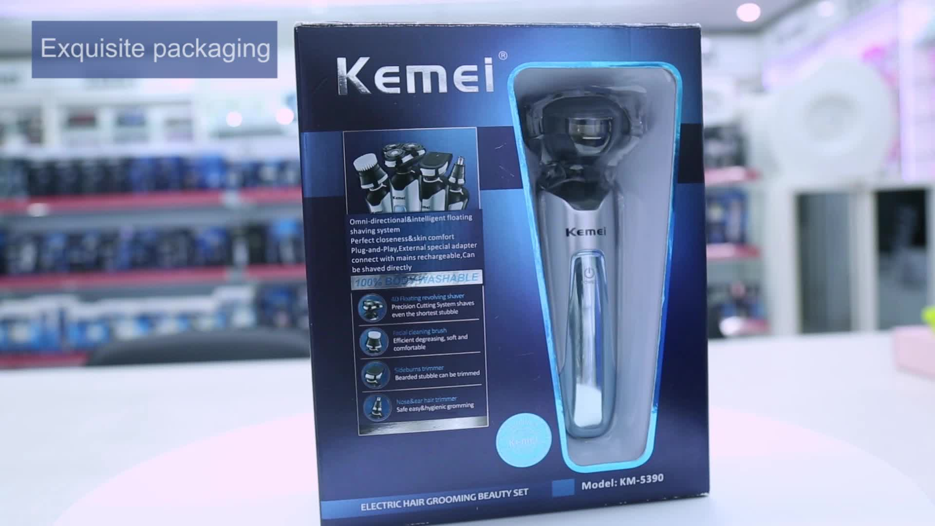 KM-5390 4in1 Professional 지능형 방수 전기 Washing 면도기 코 Trimmer Face Kemei Hair Clipper 도매