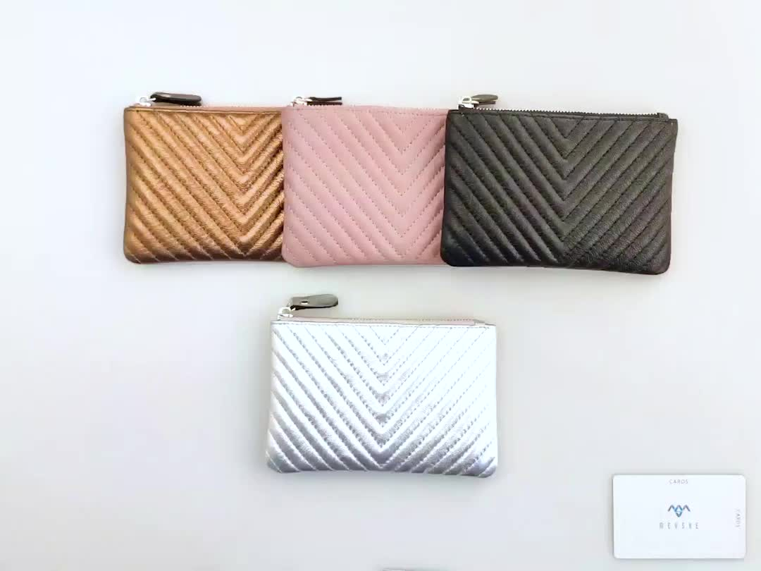 Hot sale high quality silver genuine leather customize change purse
